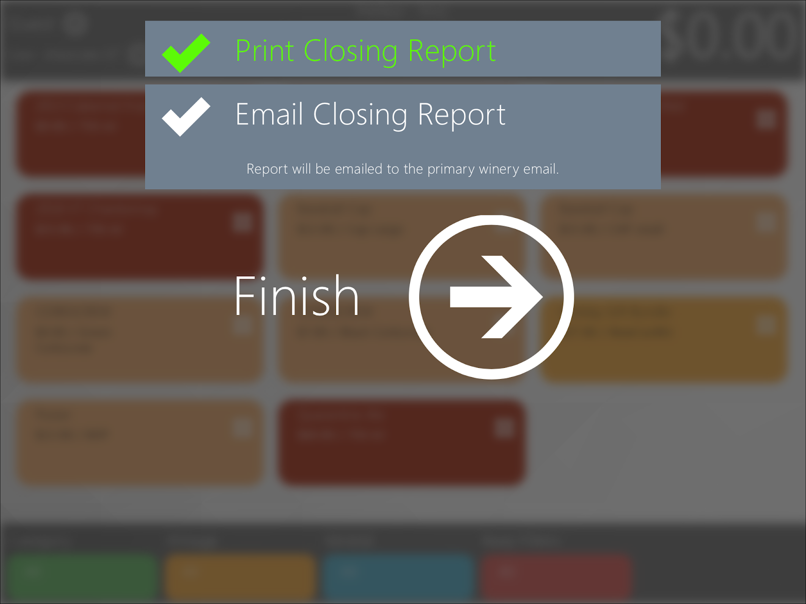 Print Closing Report Screen