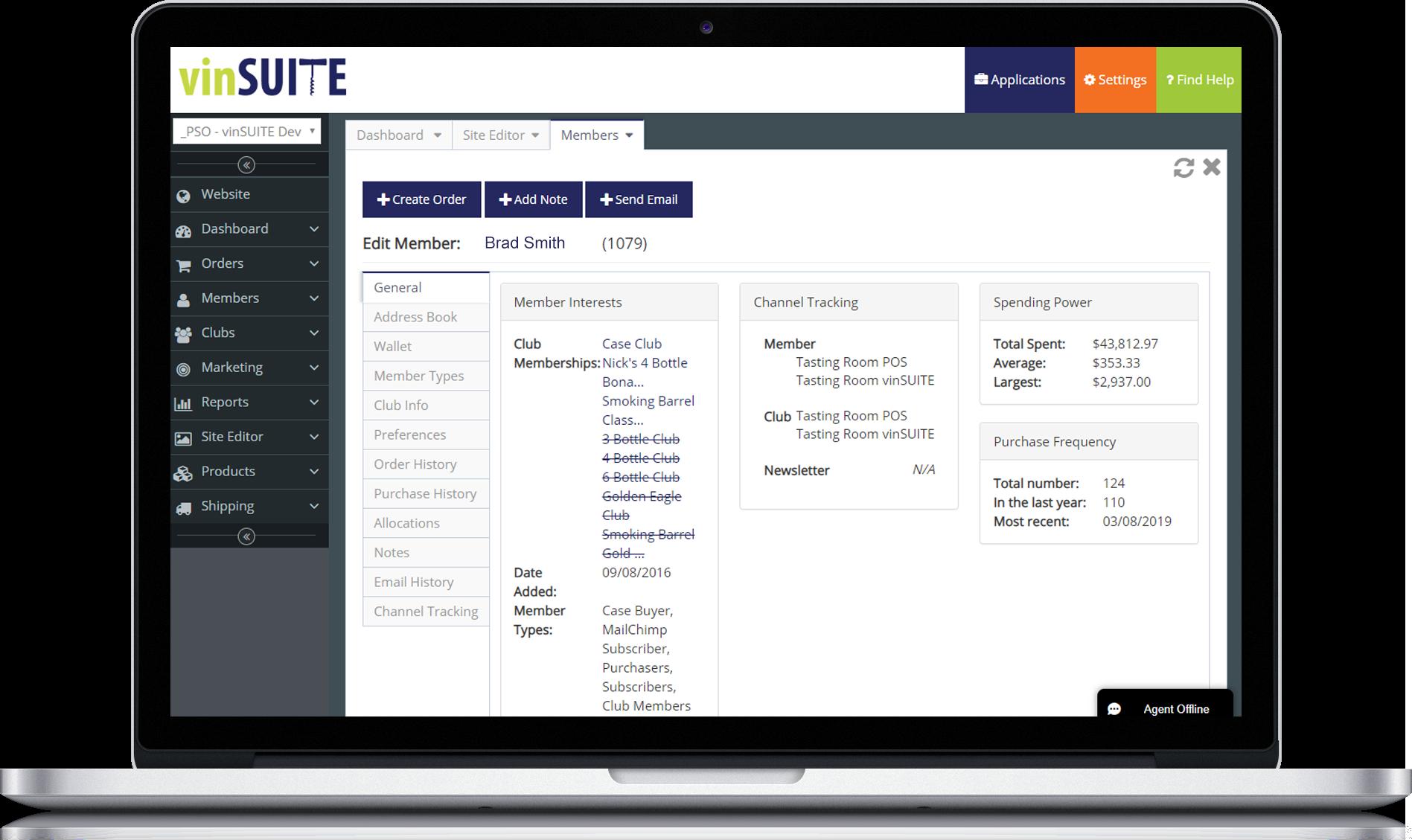 vinSUITE member profile
