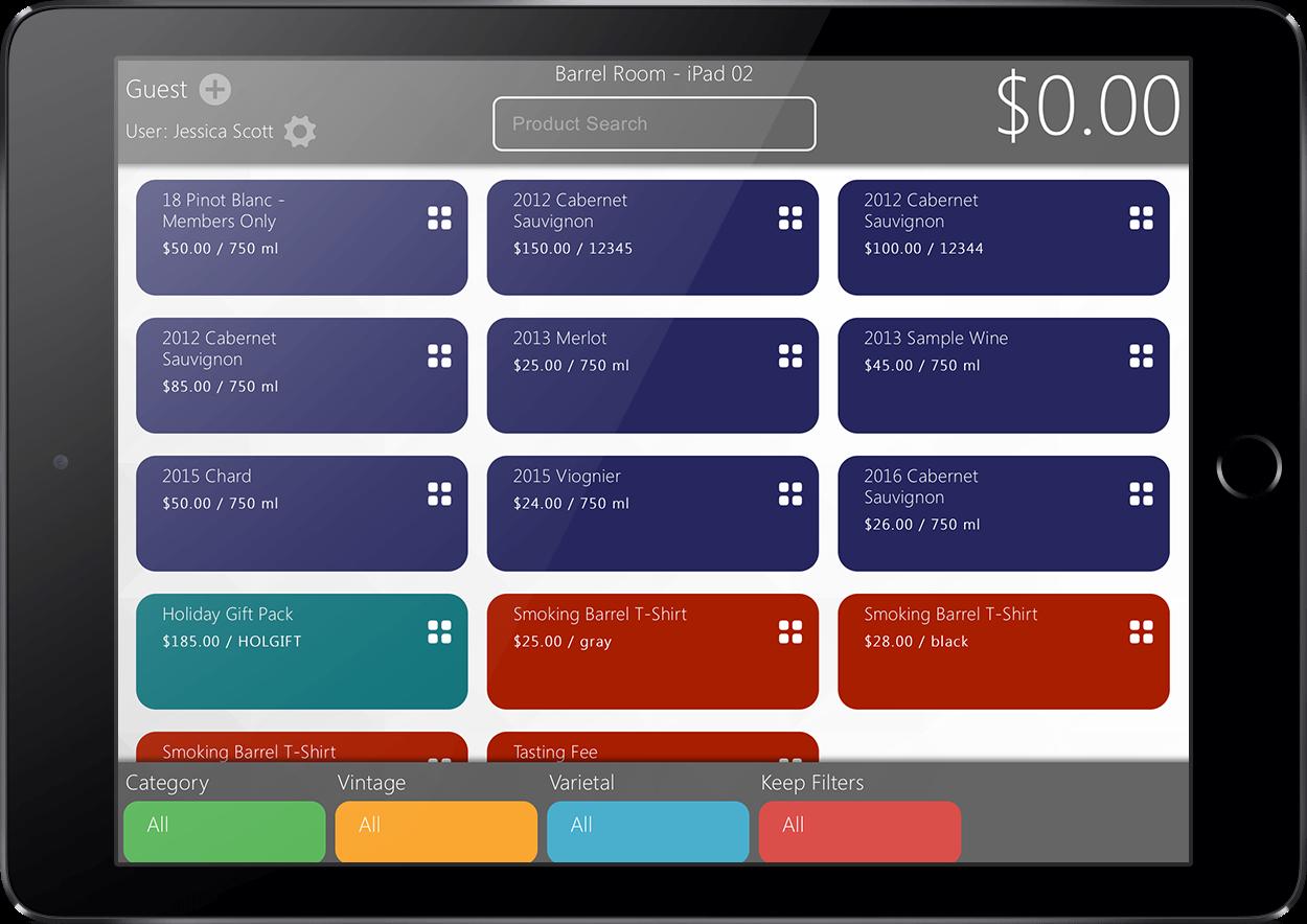 vinSUITE tabletPOS product screen