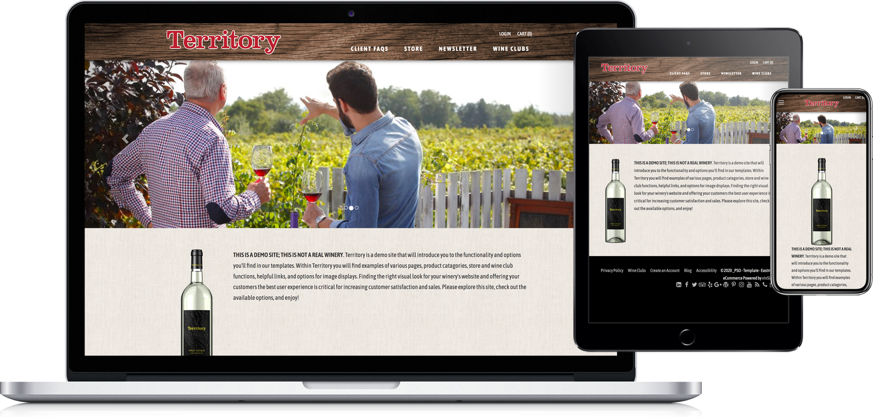 Eastman website template on laptop, tablet and phone