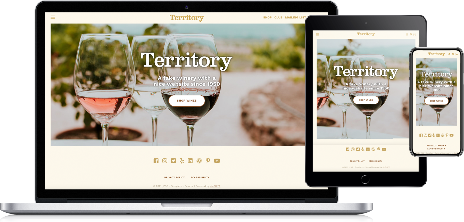 Paloma Website Template laptop tablet and phone
