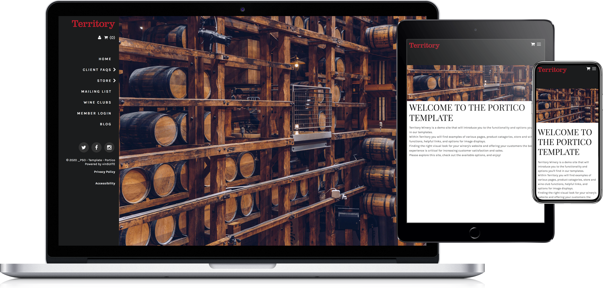 Portico website template on laptop, tablet and phone